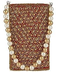 Ahankara Womens Mobile Pouch (Maroon Gold) (AMMP0000009)