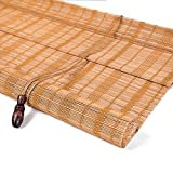HS Tenda di bambù a Rullo avvolgibile - Nanmu Naturale con Cordoncino di bambù Cortina di Stoffa Antipioggia Impermeabile e Impermeabile [3 Colori 16 Taglie] Cortina di bambù