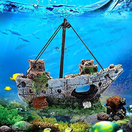 Sunyiny Aquarium-Dekoration, Kunstharz, Zubehör, Wrack, versenktes Schiff, Segelboot, Zerstörer für Fische und Garnelen, um das Haus zu vermeiden