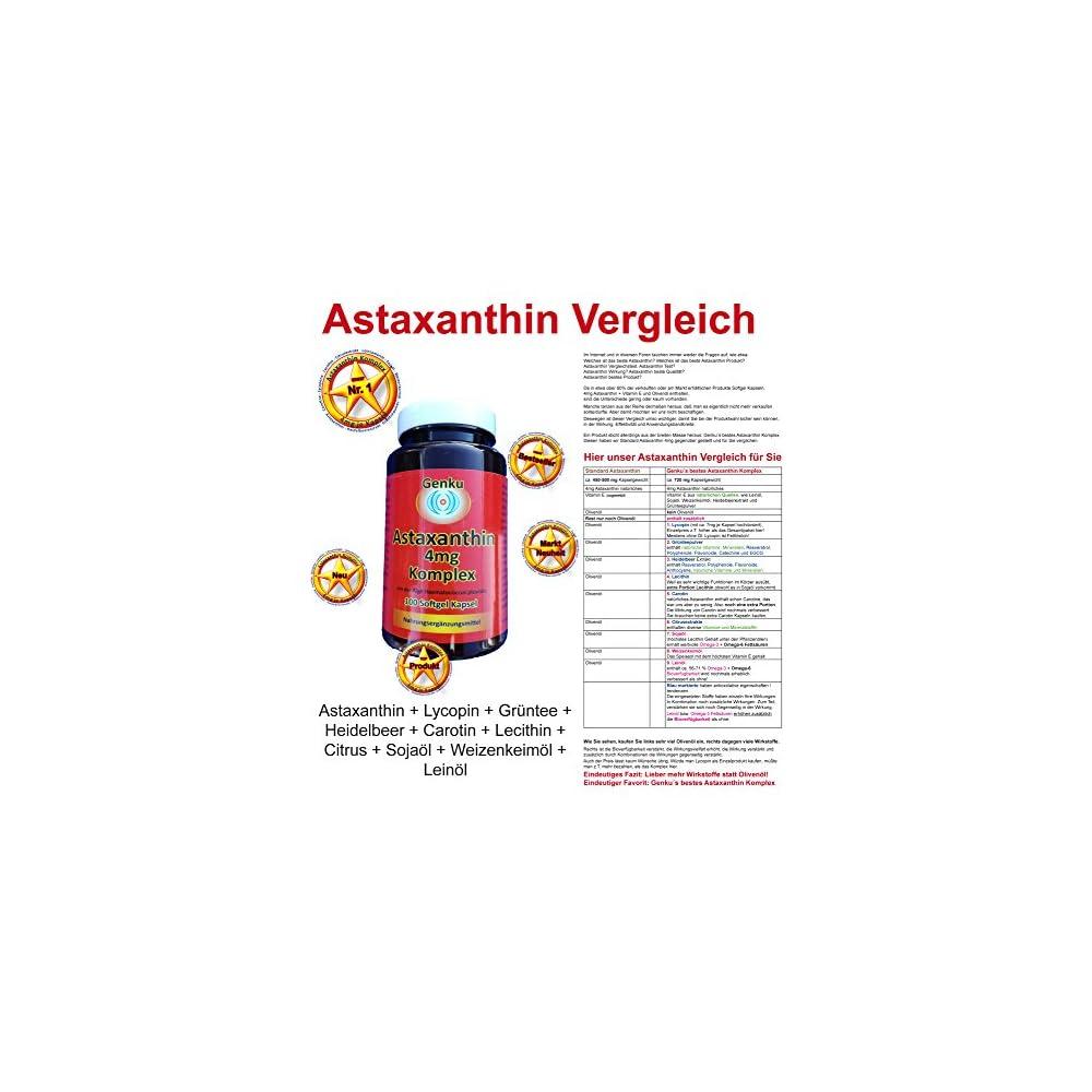 Astaxanthin 4mg Komplex 100 Softgel Kapseln Plus Lycopin Heidelbeer Grntee Egcg Lecithin Carotin Leinl Omega3