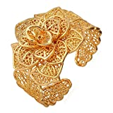 U7 Bracelet Manchette Femme Doré avec Fermeture Ouverte et Fleur Ciselée Bijoux Large Plaqué Or Jaune pour Fille