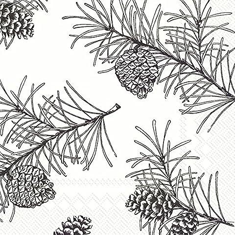 Branches de pin Blanc Noir Dessert de Noël Papier Serviettes de table 20dans un Lot carré de 33cm