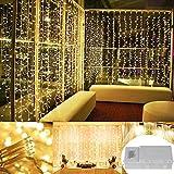 30Meter lange Lichterkette mit 300 warmweißenLEDs für Innen- und Außennutzung, mit Akku, Fernbedienung und Zeitschaltuhr, wasserdicht, 8Modi, 4x AA Batterien, dimmbar, mit dunkelgrünem Kabel