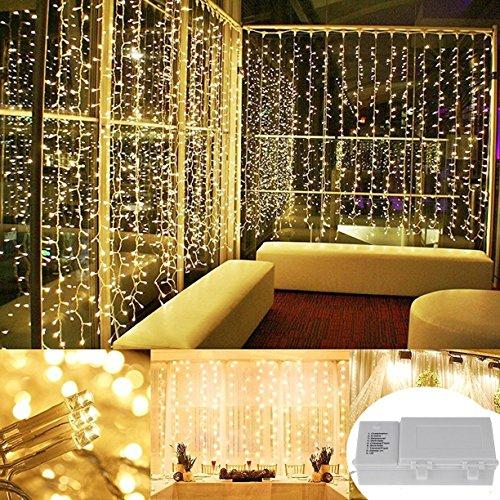 00 Warmweiß LED Lichterketten Vorhang Innen-Schnur-Fee Festival Hochzeit Vorhang-Licht für Weihnachten Home Garten Freienhochzeit, Weihnachten, Partei, Schlafzimmer, Bar, Friseursa (Diy Deco D'halloween)