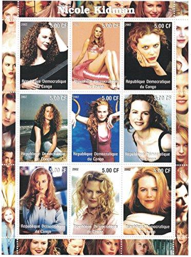 Briefmarken für Sammler-perforfated Stempel Blatt mit Nicole Kidman/Die Schauspielerin in verschiedenen Posen/Demokratische Republik Kongo -