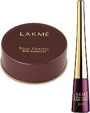 Lakme Rose Face Powder, Soft Pink, 40g & Lakme 9 to 5 Impact Eye Liner, Black, 3.5ml