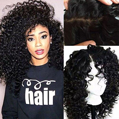 Perruques bouclée noire en cheveux humains 100% brésiliens - Sans colle, avec dentelle à l'avant - Cheveux de bébés - Implantation naturelle - Pour femme