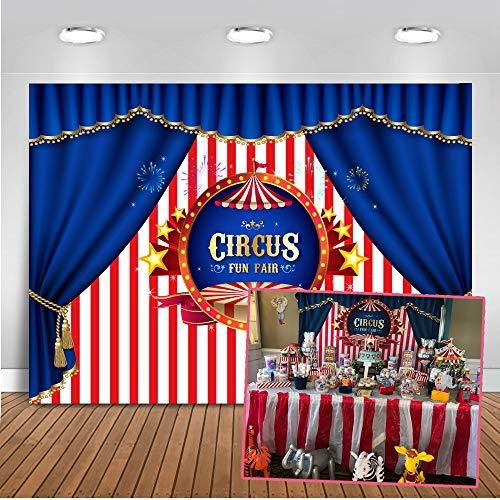 Mehofoto Zirkus Foto Hintergrund 7x5ft Rosa und Weiß Streifen Blau Vorhang Backdrops Kinder Party Dekoration Fotografie Hintergrund