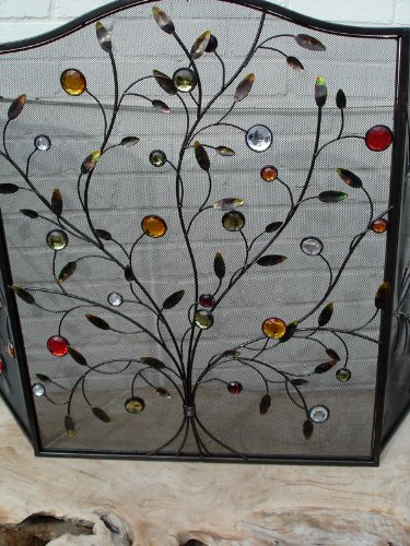 Stunning Jewel Branch Firescreen, Red and Gold 80cm high