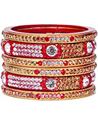 Dulari Stone Embellished Red Lac Round Bangles For Women (Set Of 6 Bangles)