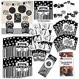 Amscan Geburtstag schwarz Weiss Party Set XL 73-teilig für 8 Gäste s-w Design Deko Partypaket