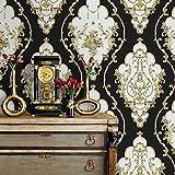 Jz27Luxe Damas Rouleaux de papier peint, Noir/doré/argenté en relief Texture Style victorien papier mural Home Chambre à coucher Salon hôtels Décoration murale 52,8cm X 9,4m