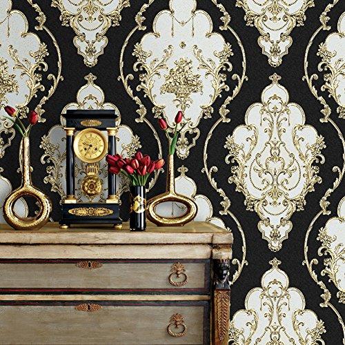 Rollo de papel pintado vintage de damasco rojo de lujo, de vinilo con relieve profundo para dormitorio, sala de estar, hotel, decoración de pared, de 52,8 cm x 10 m, 3 Black/Gold/Silver Flower Damask Wallpaper, 393.7inx20.8in