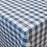 Partytischdecke 110 x 250 cm Blau Weiss kariert gefaltet