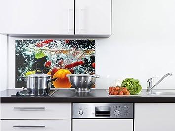 graz design spritzschutz glasbild fr die kche frchte im wasser orange erdbeere birne 100x60cm - Glasbilder Kuche Spritzschutz