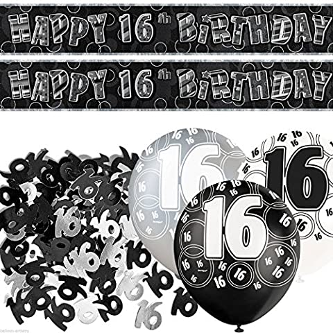 Black Silver Glitz 16th Birthday Banner Party Decoration Pack Kit Set by Happy Birthday
