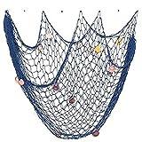 Chytaii Red de Pesca Decorativa Adorno Colgante de Pared con Conchas Estilo Mediterráneo Pared de Fondo Cuerda de Cáñamo Azul paquete de 1