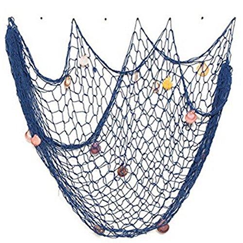 Dosige Fischernetz Deko Maritime Fischerei Dekorative Netz mit Muscheln für Hintergrund Schlafzimmer Dekoration Netze 150 x 200 cm Blau