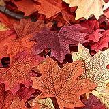 Luxbon - Ca. 150 Stück künstliche Herbst-Ahornblätter Ahorn Laub Blätter Multicolor Tabellen-Streuung für Herbst Hochzeiten & Herbst-Parties