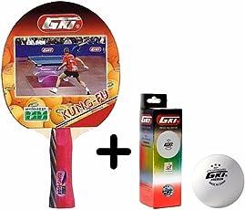 GKI Kung Fu Table Tennis Combo Set (GKI Kung Fu Table Tennis Racquet + GKI Premium 3 Star 40 Table Tennis Ball, Box of 3 - White)