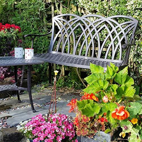 Lazy Susan – APRIL Gartenbank aus Aluminium, Antik Bronze - 8