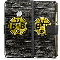 Huawei Nova Tasche Hülle Flip Case Borussia Dortmund BVB Holzoptik