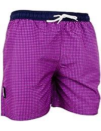 GUGGEN Mountain Badehose für Herren Schnelltrocknende Badeshorts Style-6 mit Kordelzug Beachshorts Boardshorts Schwimmhose Männer kariert Blau Lila Rot Braun Grün