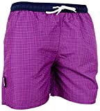 GUGGEN Mountain Herren Badeshorts Beachshorts Boardshorts Badehose Schwimmhose Männer kariert Farbe Lila M