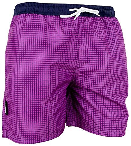 GUGGEN MOUNTAIN Maillot de bain pour homme de materiau high-tech slip shorts checked *Bleu Pourpe* Pourpe