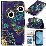 CLM-Tech Samsung Galaxy J5 (2017) DUOS Hülle Tasche aus Kunstleder, PU Leder-Tasche Lederhülle, Eulen Muster lila bunt