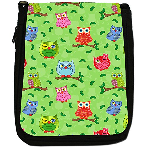 Big Eye Gufo carta da parati Medium Nero Borsa In Tela, taglia M Winking Dotty Owls With Leaves