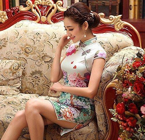 Luck Femme Qipao Robe Style Chinois Rétro Elégant Manche Courte en Coton Multicolore