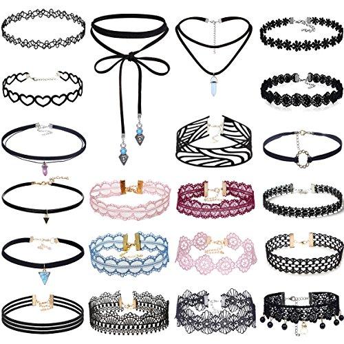 tpocean Fan-Vintage Lace Tattoo Choker Set Punk Gothic elastischen Samt Halsketten für Frauen Mädchen (Fan-charme-armband)