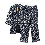 Fancy Pumpkin Herren japanischen Stil Roben reiner Baumwolle Kimono Pyjamas Anzug Morgenmantel Set- # 06