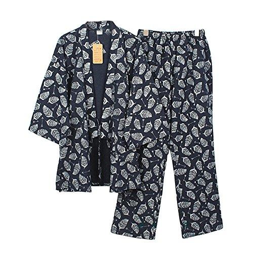 Preisvergleich Produktbild Herren japanischen Stil Roben reiner Baumwolle Kimono Pyjamas Anzug Morgenmantel Set- # 06
