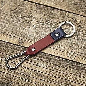 Rotes blaues Leder Karabiner Schlüsselanhänger Ringhalter Klammer Schlüssel Karabiner-haken Geschenk Schlüsselband Anhänger
