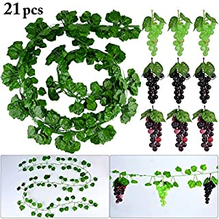 Outgeek 12 Strings Künstliche Reben Gefälschte Weinblätter Greenery Vine mit Künstlichen Trauben