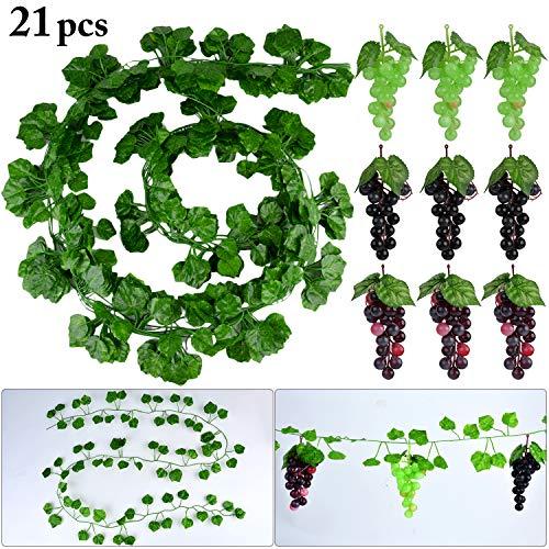 Uvas Artificiales con Hojas, 12 Cuerdas de vid Falsa con Uvas de Plástico para Bodas Decoración deJardín