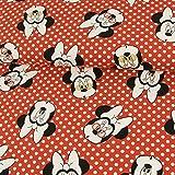 Baumwolljersey Lizenzstoff Minnie Mouse Tupfen rot
