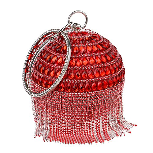 YAN Damen Ball Form Abend Clutch Bag/Womens Braut Prom Hochzeit Party mit Crystal Quasten Handtasche Gold, Schwarz, Blau, Rot (Color : Rot) - Clutch Crystal Red