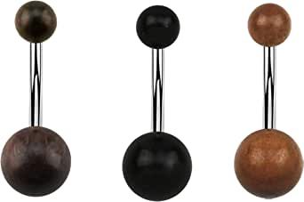 Confezione da 3 piercing per ombelico in legno con sfere in legno