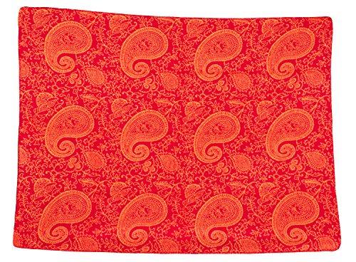 Yoga couverture PAISLEY couverture faite en Allemagne, 150 x 200 cm, 100% coton avec décoration crochet lisière, rouge / orange