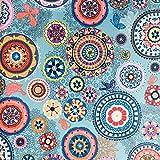 Tischdeckenstoff - Dekostoff - Acryl-beschichtet - 140 cm breite - Meterware ab 50 cm - Preis gilt für 50 cm | Mandalas. Mehrfarbig, blau