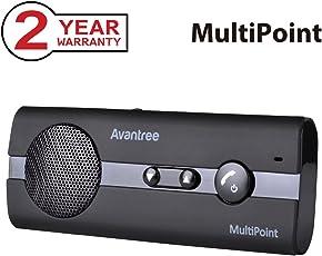 Avantree [2 Jahre Garantie] Kfz Freisprecheinrichtung Bluetooth Auto Freisprechanlage Visier Car Kit für 2 Telefone gleichzeitig, Unterstützt GPS, Musik, Wireless Speakerphone für iPhone Samsung