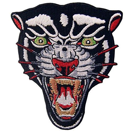 ZEGIN Aufnäher, Bestickt, Design: Der brüllende Panther, zum Aufbügeln oder Aufnähen -