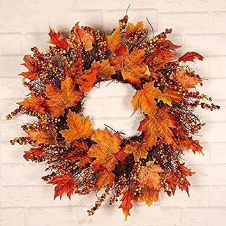 17.7 inch Guirnalda de adornos artificiales de hojas de arce y bayas guirnalda de color de otoño de acción de gracias de Navidad, decoraciones de otoño para la ventana de la puerta principal