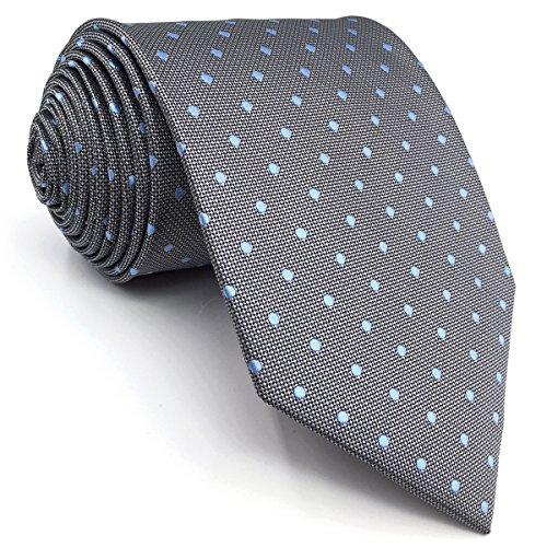 Shlax&Wing Neu Design Punkte Krawattes For Herren Grau Blau Seide Herren Tie Geschäftsanzug Classic (Skinny Größe: 57.5