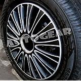 "15"" inch AS Black Silver Multi Spoke Sports Look Car Wheel Trims Hub Cap Covers Set of 4"