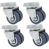 4 stuks strandstoelwielen met schroeven, dubbele wielen geschikt voor gazon met rem, draagkracht 400 kg,
