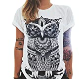Wenyujh Damen Shirt 3D Druck Sonne Blumen Buchstaben Weiß Baumwolle Oberteil Top Boho Streetwear Sommer Freizeit
